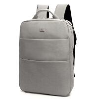 休闲电脑双肩包男女15.6寸14韩版学生书包旅行商务双肩背包 米白色 送卡包