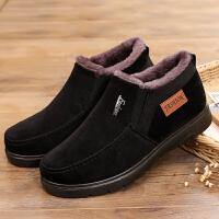 老北京布鞋男棉鞋冬季爸爸鞋中老年人加�q保暖休�e鞋防滑�底棉鞋