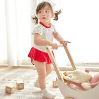 【2件3折 到手价:45】CHULFVEAN初纺 新生儿婴儿连体衣夏季薄款 纯棉哈衣包屁衣2件装