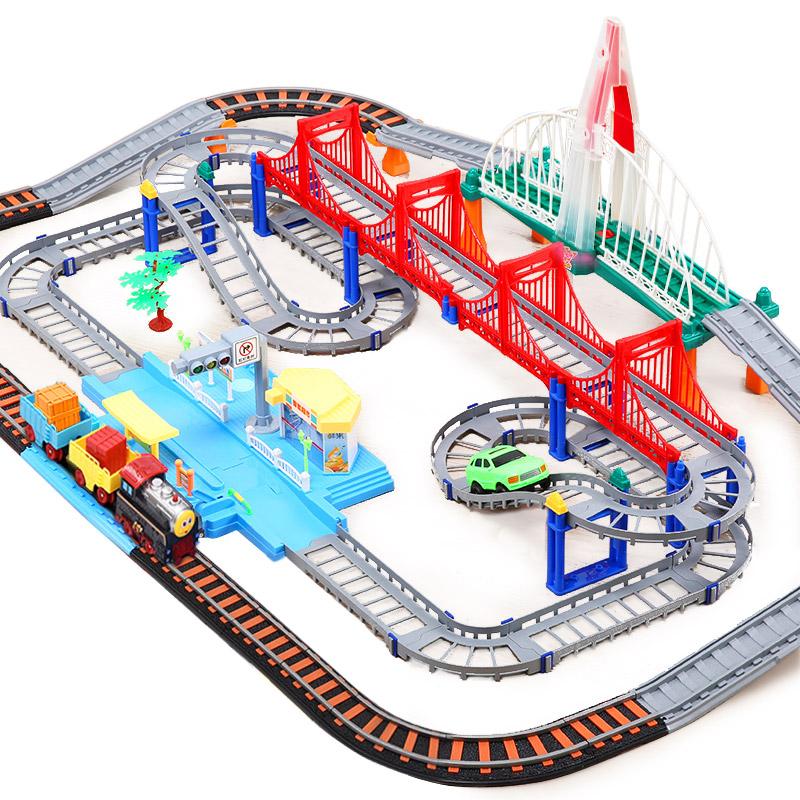托马斯小火车套装轨道电动小汽车智能超市高架桥男孩儿童玩具 智能超市+彩虹桥 组合轨道