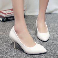 职业高跟鞋女白色哑光小码浅口尖头细跟3-5cm宴会单鞋工作皮上班