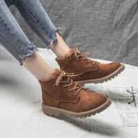 马丁靴女秋季2018新款短靴子潮韩版百搭加绒棉鞋冬短筒雪地靴