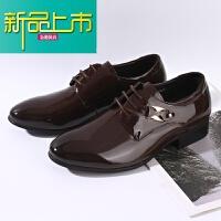 新品上市真皮春夏季新款流行男鞋系带韩版英伦圆头男士皮鞋休闲鞋婚鞋潮流 棕色
