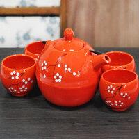 中式茶具带提梁柄茶壶 橙色陶瓷茶具套装五件套
