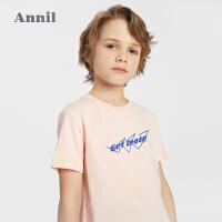 【抢购价:42.9】安奈儿童装男童纯棉T恤2021新款洋气不规则下摆男生印花上衣春夏
