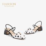 【秋冬新款 限时1折起】哈森 2019夏季新款羊皮一字带凉鞋女 中后空粗高跟晚晚鞋 HM98902