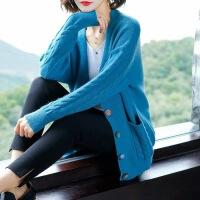 针织开衫女宽松韩版麻花百搭慵懒风很仙的毛衣外套潮