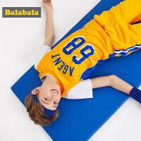 【7折价:90.93】巴拉巴拉童装男童套装夏装新款儿童短袖透气短裤中大童衣服潮