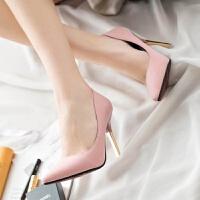 中跟�涡�女�\口尖�^高跟鞋磨砂�跟性感粉色女鞋2018秋季超高跟鞋