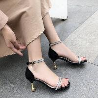 一字带水钻细高跟女士凉鞋户外仙女风时尚百搭配裙子的鞋