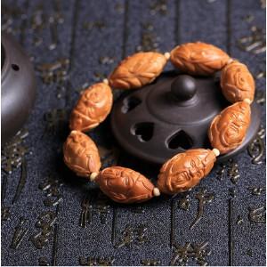 三国名将关公橄榄核佛珠手串夏季男士盘玩念珠橄榄胡拍卖