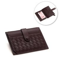 小卡包 女式小巧卡套卡片包 个性真皮卡夹可爱迷你零钱包韩国 酒红色 编织