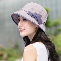 帽子女春夏遮阳帽韩版防晒帽可折叠大沿渔夫帽太阳帽盆帽