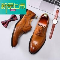 新品上市商务休闲皮鞋男真皮 雕花男鞋潮尖头系带正装鞋 黄棕色