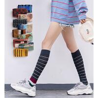 长袜女街头秋冬款韩版小腿袜潮ins不规则复古拼色网红个性袜子女