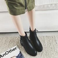 W女靴春秋单靴子女2019新款短靴女粗跟ins马丁靴女中跟短筒