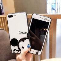 iPhone7/8plus�化膜卡通米奇妮�O果6s防爆玻璃手�C��X全屏前彩膜xsmax可�矍�H男女款 iphoneX/X