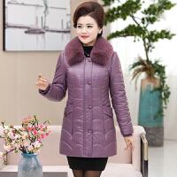 新款妈妈装冬装棉衣中老年女装pu皮衣羽绒加厚中长款棉袄外套 香芋紫色 可脱卸毛领