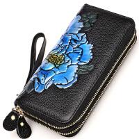 时尚韩版新款牛皮女士钱包长款真皮零钱包拉链钱夹多功能皮夹
