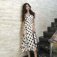 韩版chic复古波点木耳边吊带裙宽松中长款仙女裙度假连衣裙女夏季 图色