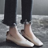 现货春季粗跟单鞋女18新款方头懒人鞋浅口韩版奶奶鞋低跟百搭