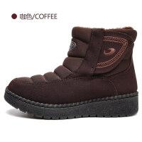 布鞋女冬季新品高帮加绒加厚保暖棉鞋短筒雪地棉靴子 BM179-466咖色
