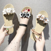 温柔鞋仙女平底拖鞋外穿时尚两穿编织女士凉鞋配裙子的鞋