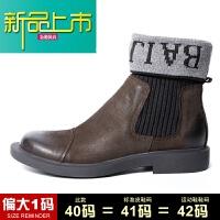 新品上市18冬季加绒真皮袜口高帮马丁靴子男士皮靴潮中帮靴男短靴