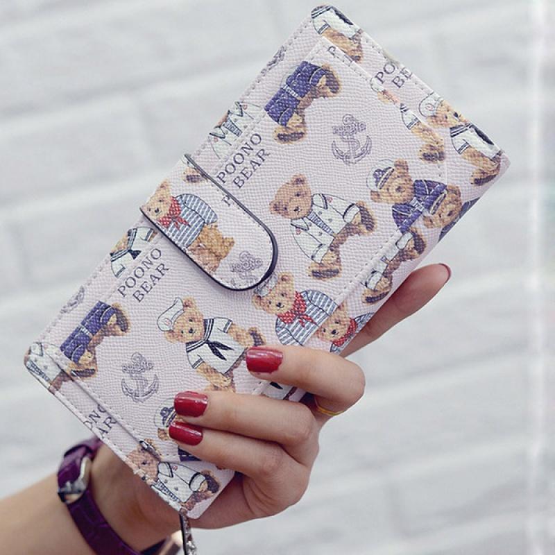 长款钱包女士日韩卡通二折学生手拿包拉链搭扣手机零钱位钱夹新款
