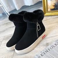 网红雪地靴女短筒2018冬新款韩版平底百搭棉鞋加绒网红磨砂短靴潮