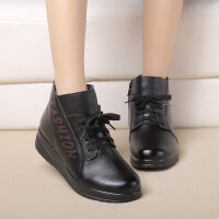 妈妈鞋棉鞋冬季加绒短筒靴子中老年女鞋保暖老鞋防滑女鞋短靴 黑色