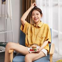限时抢购价99唐狮2019春夏装新款短袖衬衫女韩版洋气vetiver上衣半袖学生衬衣
