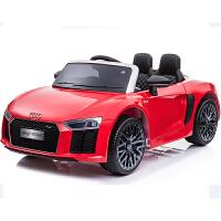 儿童电动车四轮双驱动汽车带摇摆可坐人遥控玩具车早教童车 红色【奥迪R8】+2.4G遥控+摇摆 +五点式皮座