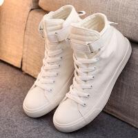 2019新款春季高帮帆布鞋女新款韩版百搭中大女童初中学生小白 鞋女鞋