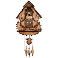 钟表欧式咕咕钟创意客厅布谷鸟实木手工雕刻报时摇摆挂钟HP16 16英寸(直径40.5厘米)