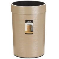[当当自营]顺美 创意仿原木纹路圆形塑料压边垃圾桶 家用厨房客厅垃圾桶 大号SM-2949 米黄色