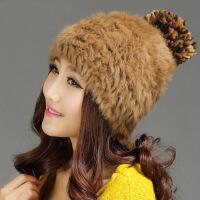 兔毛帽皮草帽子女韩版潮时尚可爱保暖护耳帽包头毛线帽女帽