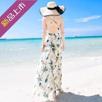 夏季泰国巴厘岛女装海边度假沙滩裙露背吊带连衣裙波西米亚长裙子 花色
