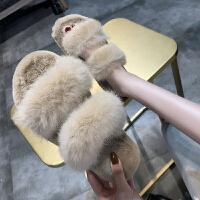 毛毛鞋软妹兔毛绒毛毛拖鞋女秋季2018新款韩版百搭厚底一字拖松糕