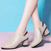 单鞋女2019春季新款女鞋韩版尖头粗跟鞋中跟深口工作鞋子