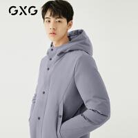 GXG男�b 冬季男士�{色�n版白���q加厚�B帽中�L款羽�q服潮