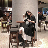 新年特惠山本风复古长裙初恋法式少女茶歇桔梗气质两件套装连衣裙秋冬 黑色+白色两件套