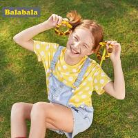 【3件4折价:39.6】巴拉巴拉儿童T恤短袖女童打底衫夏装新款中大童洋气复古波点
