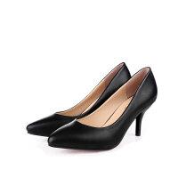 春秋款尖头高跟鞋黑色职业单鞋女正装工作鞋大小码32