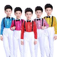 小学生大合唱男孩跳舞蹈表演服装儿童节演出服男童背带裤
