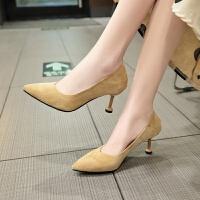 女鞋子2019春季新款韩版百搭尖头浅口绒面两穿单鞋细跟高跟鞋