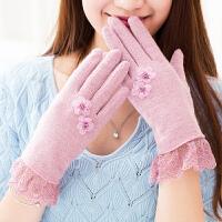 女士羊毛加绒触屏手套女冬可爱韩版学生甜美清新薄款保暖分全五指