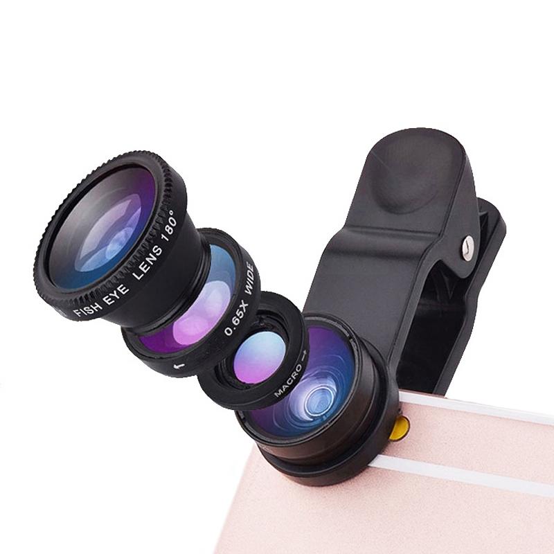 Liweek 手机通用自拍镜头 外置特效摄像头 手机广角镜头 手机微距镜头 手机鱼眼镜头 广角微距鱼眼三合一镜头 美颜摄影神器【广角+微距+鱼眼套装】