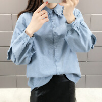 【秋冬新品】高端专柜品牌娃娃领外套女韩版2019新款牛仔衬衣设计感小众长袖春秋季上衣