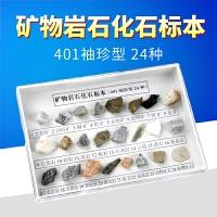 矿物岩石化石标本24种岩石标本小学科学自然地理地质矿石科普展示矿石教学实验器材